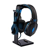 LANSCOERY Acrylic Headset Display Stand Sturdy Gaming Headphone Holder Earphone Hook with Cable Holder for All Headphones (Black)