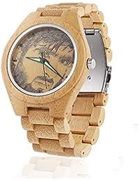 8f92114c0b04 Reloj de Madera con Foto Personalizada Reloj de Madera de Bambú Natural  para Hombre Relojes de