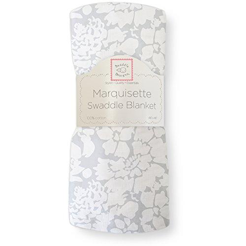 SwaddleDesigns Pucktuch aus Marquisette, Premium Baumwollmusselin, Gedruckte Blätter, Silberfarben