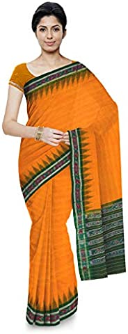 ODISHA HANDLOOM Women's Sambalpuri Cotton Saree With Blouse Piece (o 22_Yel