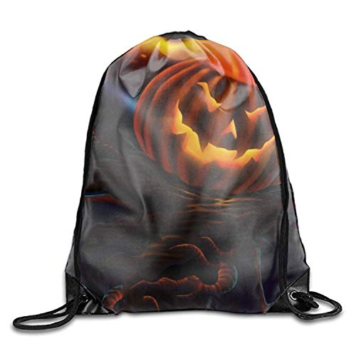 Strong Premium Quality Drawstring Backpack Gym Bag for Adults & Teens Holiday Halloween Jack-o-lantern Scary Night Moon School Kids PE Kit Bag, Perfect for Sports Beach Holidays Swimming Travel (O Scary Jack Lantern)