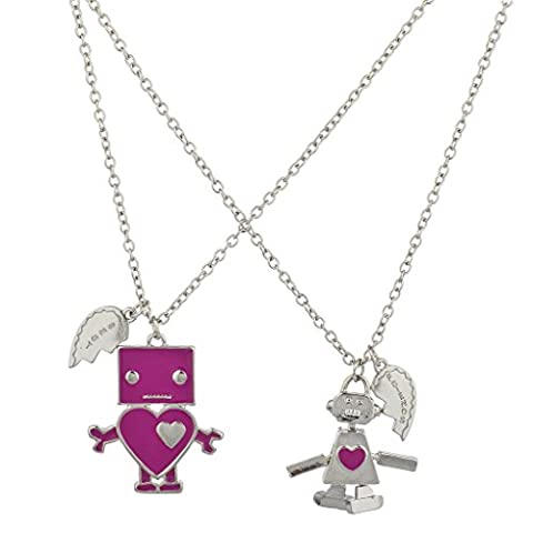 Lux Accessoires Argent Rose Amour robot BFF Best Friends Forever