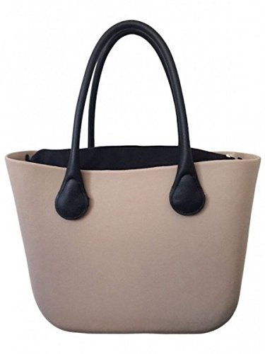Deininger bags, Borsa tote donna Navy and Flat Street Taupe