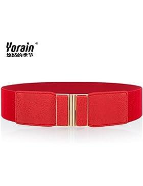 SILIU*La Sra. elegante paquete cinturilla ancha cintura elástica con falda abajo San Sau correa decoración salvaje...