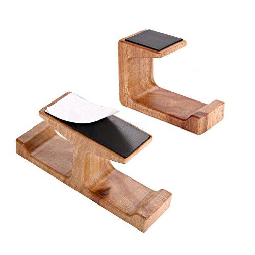 pomcat Holz Dual Halterung Kopfhörer Ständer Klebehaken unter Desk Hanger Home Office (A + B) (Kopfhörer-haken-ständer)