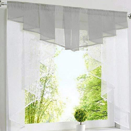 LnLyin Romantic Stitching Wave Plissee Vorhänge Romantische Tüll Volant für Balkonfenster, grau - Wave Bad Licht