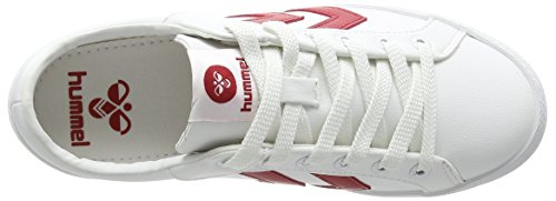 Hummel DEUCE COURT SPORT, Sneakers basses mixte adulte Blanc - Weiß (White/Red 9134)