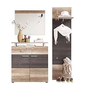 trendteam pl91558 garderoben set garderobe 3 tlg eiche nachbildung absetzung dunkelbraun. Black Bedroom Furniture Sets. Home Design Ideas