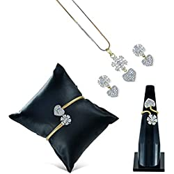 Charms American Diamond Traditional Fashion Jewellery Combo of Necklace Pendant Set/Ring/Bracelet with Earring for Women/Girls