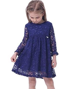 Bonny Billy Mädchen A-Linie Lange Ärmel Blau Spitze Kinder Kleid 100-150