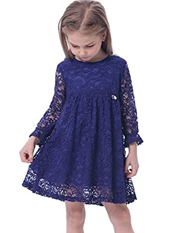 Bonny Billy Mädchen A-Linie Lange Ärmel Blau Spitze Kinder Kleid 110