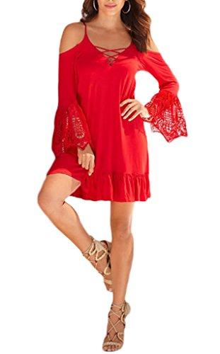 Bigood Couleur Uni Robe à Bretelles Manche Longue Sexy Épaule Nu Rouge