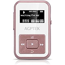 AGPTEK A12- Clip Bluetooth Reproductor de Mp3 8 GB con FM Radio y Grabadora de Voz( una Funda silicona incluido), Color Rosa