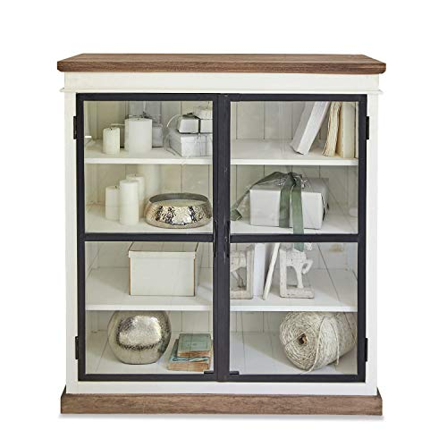 Loberon Kommode Mira, Mangoholz, MDF, Eisen, Glas, H/B/T ca. 120/110 / 50 cm, antikweiß/schwarz/br