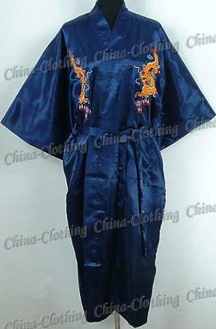 Shanghai Tone® Robe De Chambre Pyjama Peignoir Kimono Dragon Bleu