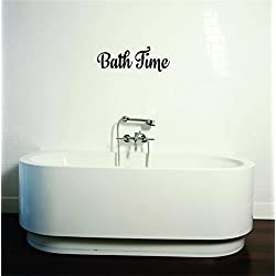 Design with Vinyl Moti 2039 2 Decal - Peel & Stick Wall Sticker : Bath Time Text Lettering Bathroom Quote Color: Black Size 8 Inches x 32 Inches