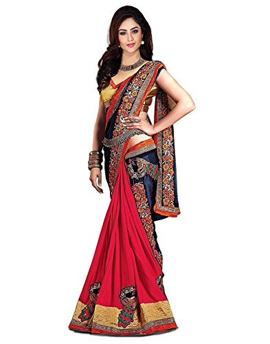 SareeShop Women's Embroidered Chiffon Saree With Heavy Border Work And Blouse Piece(SMS_Flower-803_Multi-Colored)  available at amazon for Rs.699