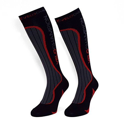 Velochampion calze a compressione - nero/ rosso - compression sports socks - (black / red medium)