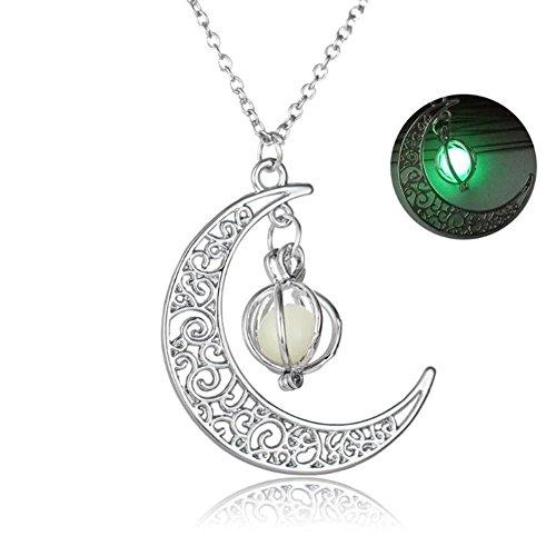 Perlen Kürbis Mond Anhänger Licht Emittierende Leucht Stein Halskette Weihnachtsgeschenke Für Männer Und Frauen , green (Einfache Halloween-kürbis)