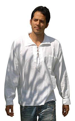 Sommer Bluse mit Tunnelzug aus Baumwolle, ethisch gehandelt, lange Ärmel - aus Ecuador für Tumi gefertigt - leichtes, kühles Material Weiß