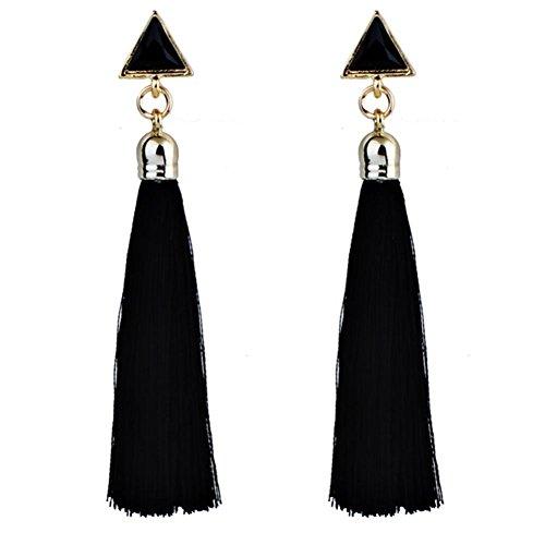 TIFIY Weinlese Vintage Retro Art lange Troddel Long Tassel Baumeln Bolzen Ohrring Earrings Eardrops (Schwarz)