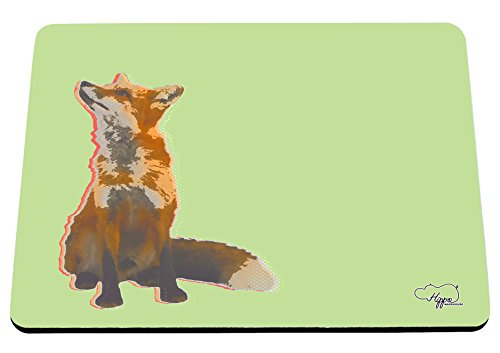 hippowarehouse-gazing-fox-printed-mouse-mat-pad-accessory-black-rubber-base-240mm-x-190mm-x-60mm-gre