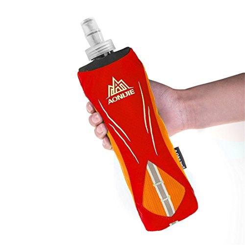 AONIJIE Männer/Frauen Sport Quick Grip Chill Handheld Water Bottle Trinkflasche Trinkrucksack mit 500ML Trinkflasche Orange