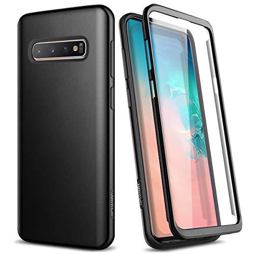 SURITCH Kompatibel mit Samsung S10 Hülle Silikon 360 Grad Hüllen mit Integriertem Bildschirmschutz Bumper Stossfest Handyhülle Schutzhülle für Samsung Galaxy S10 Schwarz