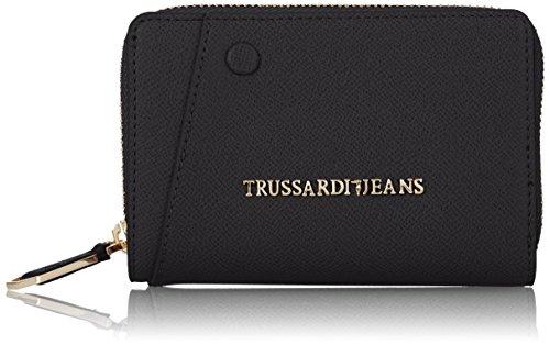 Trussardi Jeans Montblanc Medium Zip Portamonete, 14 cm, Nero