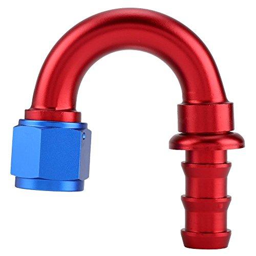 KIMISS AN4 Droite 45 90 180 Degrés Pousser Sur Twist Serrure Huile Gaz Ligne De Carburant Tuyau Extrémité Mâle Raccord Alliage D'aluminium Bleu et Rouge(180°)