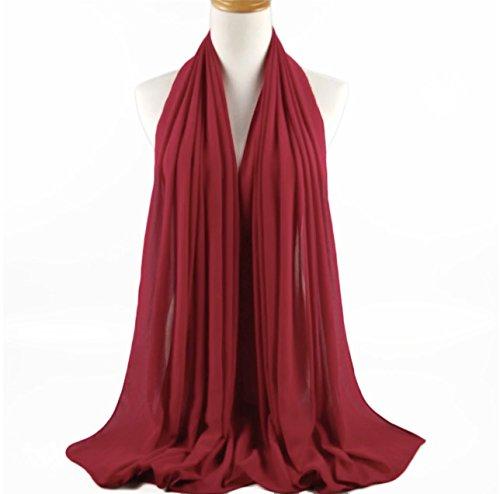 SAFIYA - Hijab Kopftuch für muslimische Frauen I Islamische Kopfbedeckung 75 x 180 cm I Damen Gesichtsschleier, Schal, Pashmina, Turban I Musselin/Chiffon - Bordeaux - 3