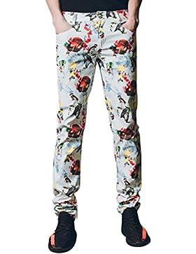 jeansian Pantaloni Casual Uomo Retro Moda di Stampa Stampa Jeans Cool Skinny Denim Pants MJB104