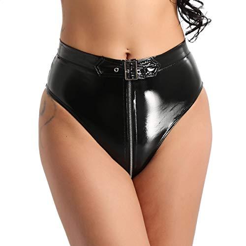 FEESHOW Damen Bikini High Waist Shorts Hotpants Unterwäsche Wetlook Ouvert Dessous Slip Gürtel Reißverschluss Gogo Tanz Booty Clubwear Schwarz XL(Taille 79cm) -