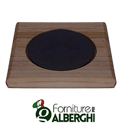 Piatto vassoio tagliere in ardesia rettangolare e foro tondo con legno bamboo dim. cm 33x33 set 12 pezzi professionale