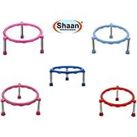 Shaan Plastic Glister Pot Stainless Steel Legs Single Ring Matka Stand -5 Pieces
