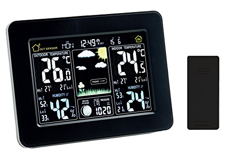 Atomic Wireless Weather Station with Indoor/Outdoor Wireless Sensor - Color Display Weather Station Alarm Clock With Temperature Alerts, Forecasting by Think Gizmos. 1