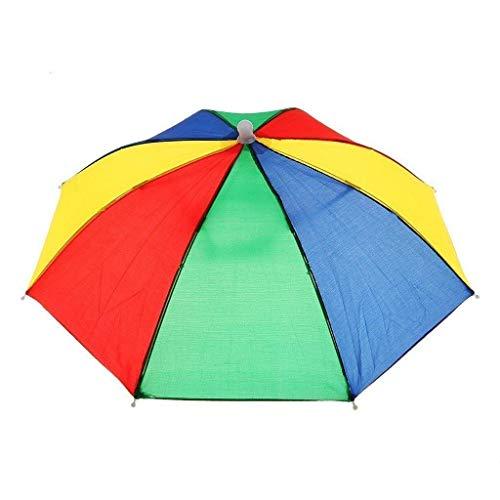 Aofocy Regenschirm-Hut-Neuheit im Freien Sonne Regen Kopfbedeckung Regenschirm-Hut-Sonnenschirm-Hut-Kopf-Regenschirm-Kappe für Damen und Männer Multicolor