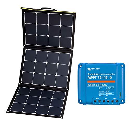 WATTSTUNDE Sunfolder faltbare Solartasche - Mobiles 12V Outdoor Solarpanel mit Victron 75/15 SmartSolar MPPT Laderegler und Batteriekabel (120W 75/15 MPPT)