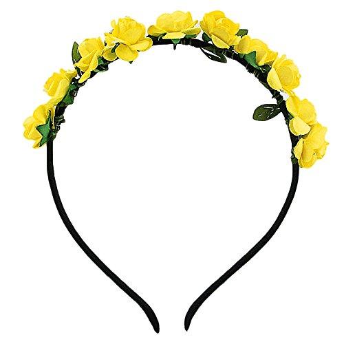 Yellow hair accessories amazon hippie love flower garland crown festival wedding hair wreath boho floral headband yellow mightylinksfo
