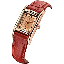 Rectangular vintage watch/Fashion quartz watch/Luminous waterproof watch-A