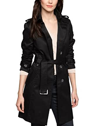 Comma Damen Trench Coat Regular Fit 89.402.52.6601 MANTEL, Gr. 44, Schwarz (9999 black)