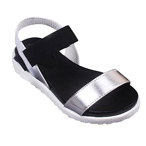 TianWlio Sandalen Damen Sommer Sandalen Schuhe Peep Toe Niedrige Schuhe Römersandalen Frauen Flip Flops Silber 39