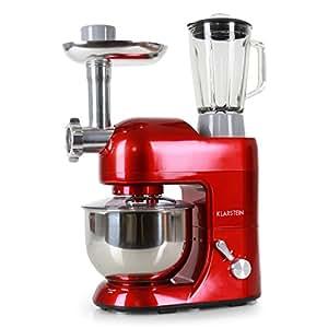 Klarstein Lucia Rossa Robot da cucina multifunzionale (impastatrice, accessori per tritare, 1200 Watt, 5 l, 6 velocità) rosso