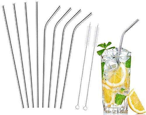 Set von 8 Edelstahl Trinkhalme Ultra Lang, die von 26,7 cm Trinken Metall Trinkhalme für 20 Handbeil Edelstahl Tumbler Rumblers Kalte Getränke (4 gerade + 4 gebogen + 2 Bürsten)