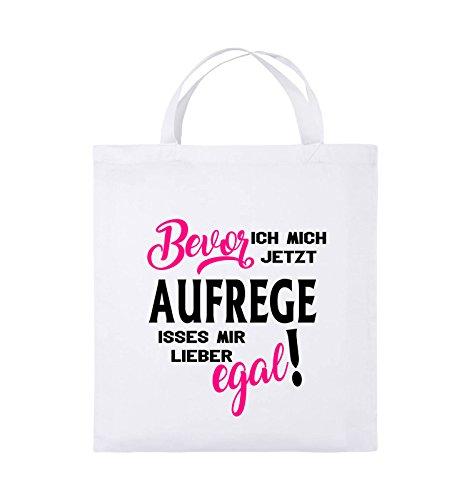 Comedy Bags - Bevor ich mich jetzt aufrege isses mir lieber egal! - Jutebeutel - kurze Henkel - 38x42cm - Farbe: Schwarz / Weiss-Neongrün Weiss / Schwarz-Pink