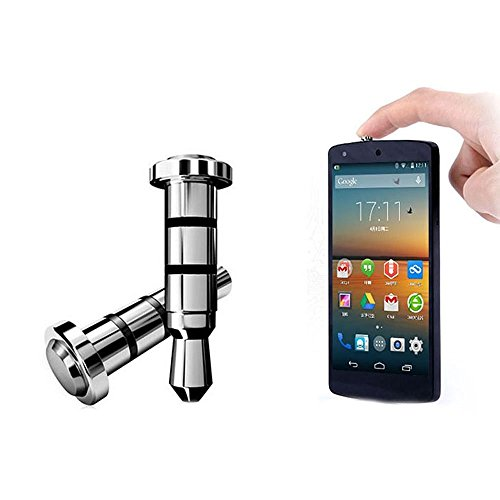 Sungpunet Tapon antipolvo para auriculares de 3,5 mm para smartphone Andriod (boton rapido), color plateado