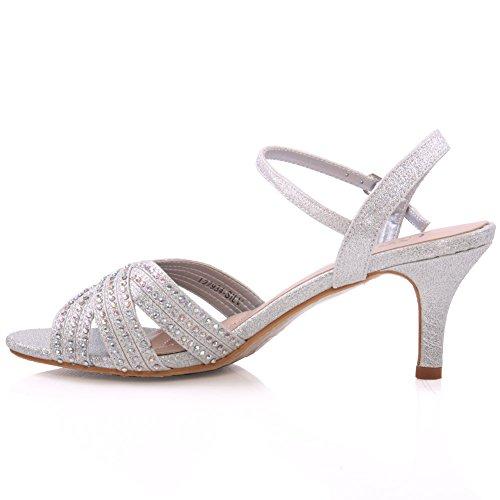 Unze Womens ' Jina ' sandali da sposa abbelliti Argento