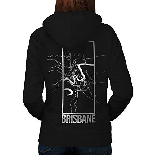 Brisbane Stadt Karte Mode Groß Stadt Karte Damen M Kapuzenpullover Zurück | Wellcoda