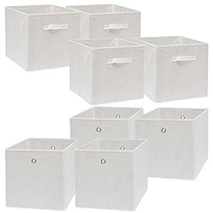 DuneDesign Faltbox Set 4 Boxen für Kallax Regal weiß 33x38x33cm Expedit Box faltbar mit Stoffgriff Regalbox Faltboxen