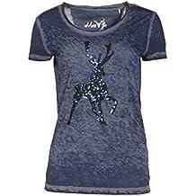 MarJo T-Shirt Trachtenshirt Ella Oil Washed Optik mit Hirsch Applikation  Blau f1058ec39d